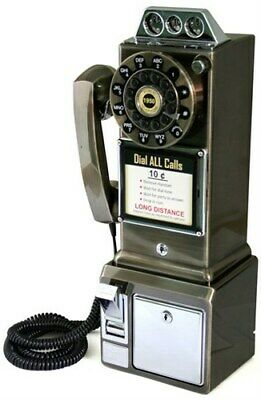 Retro Classic Vintage Reproduction Copper Corded Payphone Wall 1950's Pay Phone
