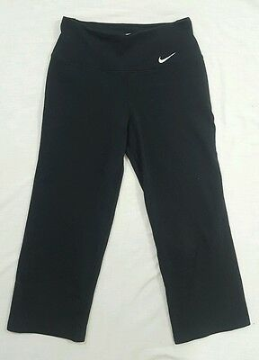 Nike Dri Fit Womens Black Cropped Capris Fitted Athletic Gym Yoga Pants X-Small