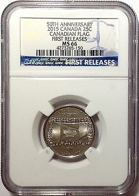 2015 Canada Quarter NGC MS66 50th Anniversary Frosted Flag First Release