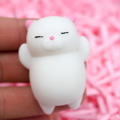 1Pc Funny Cat White Body Pink Ears  Squeezable Stress Relievers Kid Toy Gift