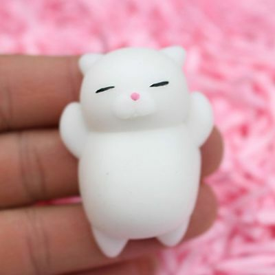 1Pc lovely Lazy Cat Shape White Color Squeezable Stress Relievers 6.5*4*2cm Gift