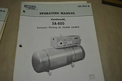 Lincoln Operating Manual - Lincolnweld Sa-800 - Im-205-B