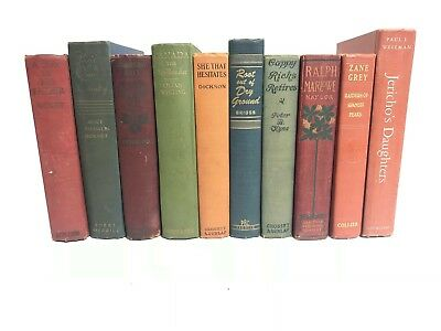 Lot of 10 ANTIQUE Old Vintage Books Collection Set UNSORTED MIXED Decoration HC