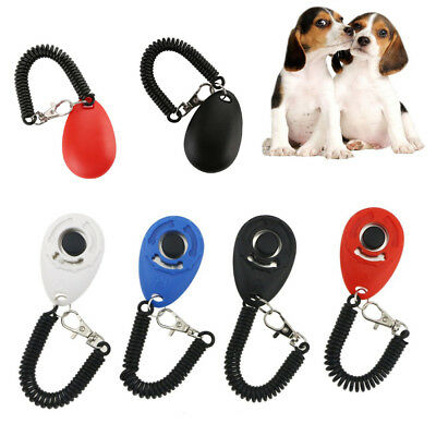 Puppy Dog Pet Cat Training Clicker Trainer Teaching Tools Stretch Cable Keyring