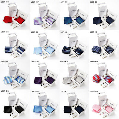 Gift Box Hanky Cufflinks Jacquard Wedding Silk Mens Skinny Tie Necktie Sets XX45