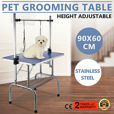 36'' Portable Pet Dog Grooming Table Adjustable H Loop 2 Arm Non Slip Tabletop