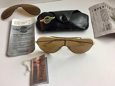 WINGS BAUSCH & LOMB GOLD RAY BAN SUNGLASSES /BROWN BLK LENS w/Case + Orig. Tags