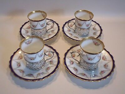 Rare Antique Aynsley China Coffee Cans/saucers In H/marked Silver Holders- C1907