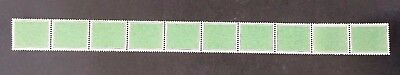 Scarce 1938- Australia strip of 10 x Green Coil Test stamps MUH