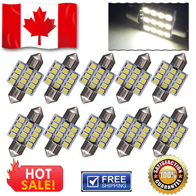"10 x White 1.75"" 42mm Festoon LED 4 SMD Canbus Error Free Dome 211 212-2 578"