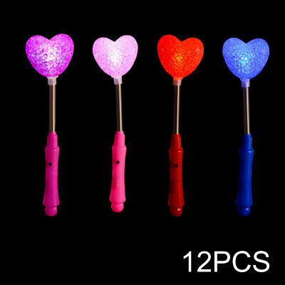 12pcs LED Glow Sticks Heart Flashing Light for Concert Christmas Halloween FA110