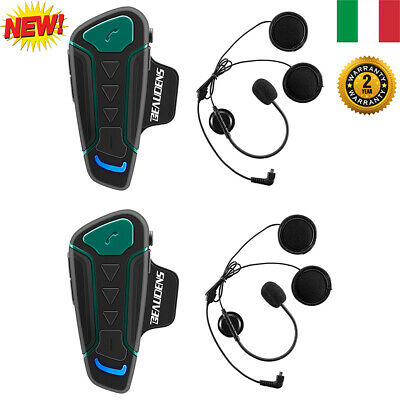 2X Bluetooth 1200M Moto Casco Interfono Intercom Impermeabile Cuffie Auricolari