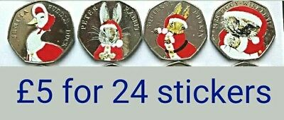 Beatrix Potter christmas 2016 50p = 20 coin stickers professional, high quality