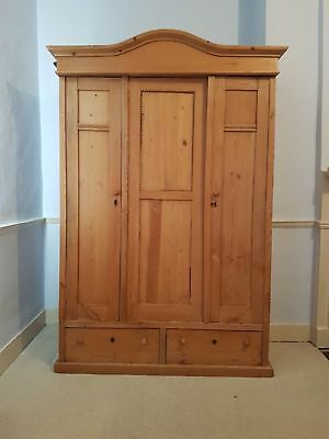 Antique pine double wardrobe