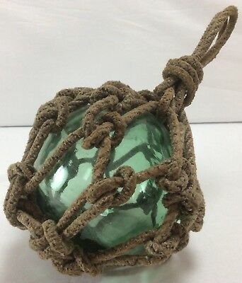 "Vintage Japanese Glass Fishing Float 4-4.5"" Aqua Green RARE SIZE - Netted Rope"