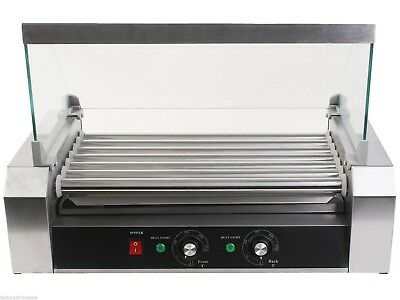 18 Hotdog 7 Roller Grill Cooker Grilling Commercial W/ Cover Machine Equipment