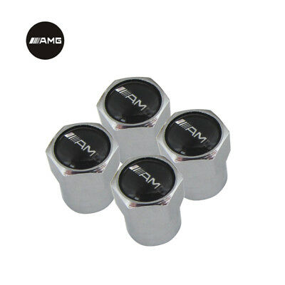 AMG Chrome Car Dust Cap Valve Covers for Wheel Tyre Dustcaps Caps Set of 4 NEW