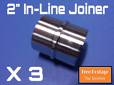 """3 X CONNECTOR JOINER 316 STAINLESS STEEL TUBE 50mm FITTING BALUSTRADE 2"""" TUBING"""
