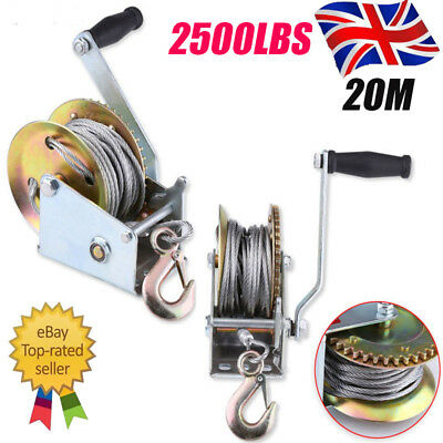 Manual Hand Winch 2500lbs Boat Trailer Caravan 20m 65ft Cable Length Pull Marine