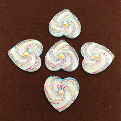 5/10/20PC 30mm Loving Heart Flat Back Resin Buttons Scrapbooking DIY Appliques