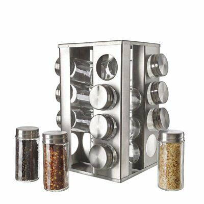 Stainless Steel 16 Glass Spice Jar Revolving spice Rack Stand with lid Carousel