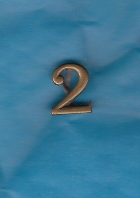 """ORIGINAL BRASS KEPI NUMBER - """"2"""" wire fitting, French or Belgium soldiers in WWI"""
