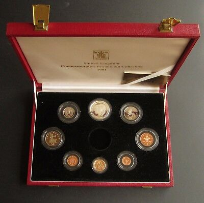 Royal Mint 1981 Cased Proof Set Including Gold Sovereign And Silver Crown