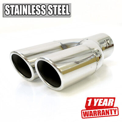 Double Car Exhaust Tip Muffler Trim Pipe Chrome Stainless Steel Durable