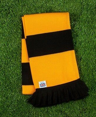 Hull City Colours Retro Bar Scarf - Amber & Black - Made in UK
