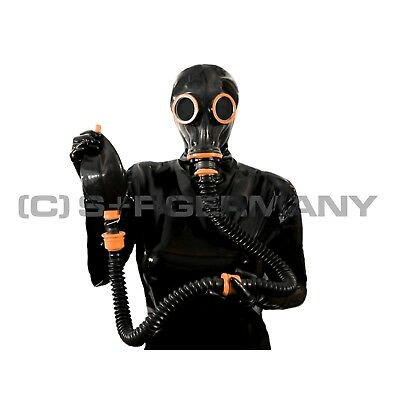 Gas Mask Latexhood System For Fetish Latex Rubber Coat Pants Shorts Shirt Corset
