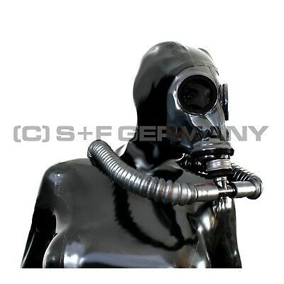 Gas Mask Latexhood System For Latex Rubber Fetish Catsuit Dress Uniform Gloves