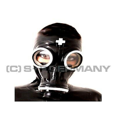 Gas Mask + Hood Set For Fetish Rubber Latex Nurse Cosplay Leather Gloves Catsuit