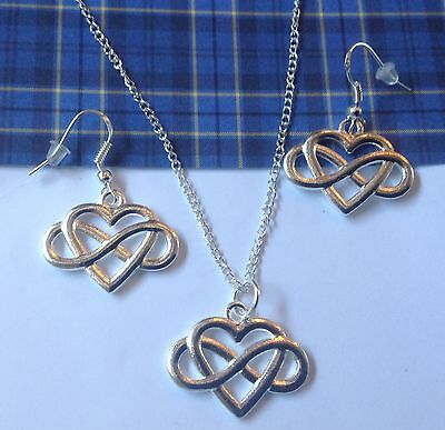 Celtic Infinity Heart  Necklace and Earrings