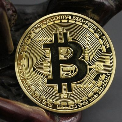 1PCS Gold Plated Iron Bitcoin Coin Collectible Gift BTC Art Collection Physical