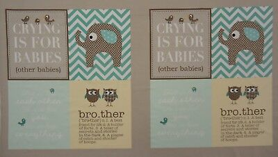 QUILT FABRIC BABY BROTHER by CLOTHWORKS 100% COTTON FABRIC PANEL