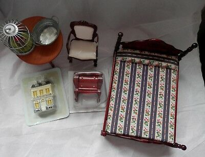 Mixed Lot of Doll's House Items.Includes Roll Top Desk and Grandfather Clock.
