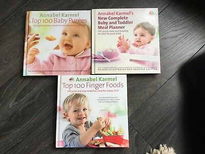 Annabel Karmel Cook Books X3 Baby & Toddler Meal Planner, Purees, Finger Foods