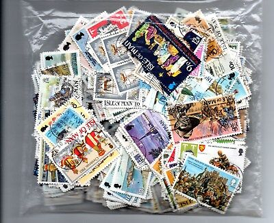Isle of Man off paper mix of used postage stamps - approx 70gms