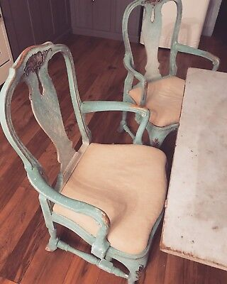 Pair Antique Swedish Gustavian Rococo Chairs In Blue