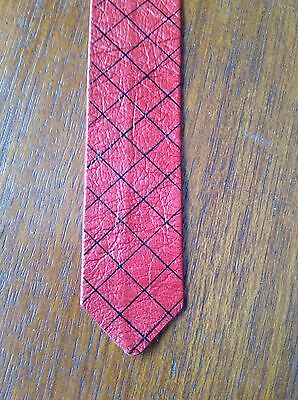 """Vintage Red Leather 1"""" Slim Criss-cross Tie Sheepskin Leather Liverpool Made S.."""