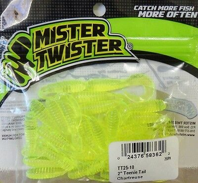 """Mister Twister Teenie Tails 2"""" - Chartreuse - Soft Plastic Lures, 25per pack"""