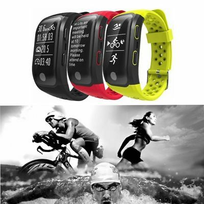 Amarillo GPS Movimiento Pulsera Heart Rate Inteligente Reloj Para IOS Android ES