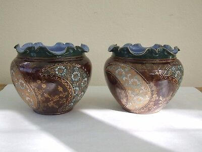 "Pair Of Royal Doulton ""slater's Patent""jardinieres - Nellie Garbett 1901-1910"