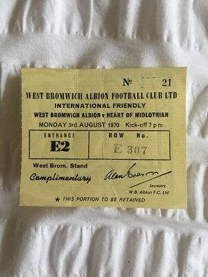 Hearts FC: West Bromwich Albion V. Hearts: Complimentary Ticket:03.08.1970