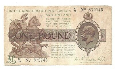 Great Britain 1 Pound 1923 in (F) Condition RARE Banknote