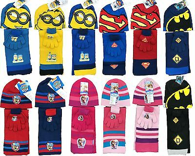 Kids Paw Patrol Superman Batman Frozen Minions Knitted Scarf, Hat & Glove Set
