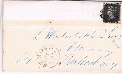Penny Black Plate 5 QF on entire letter see description