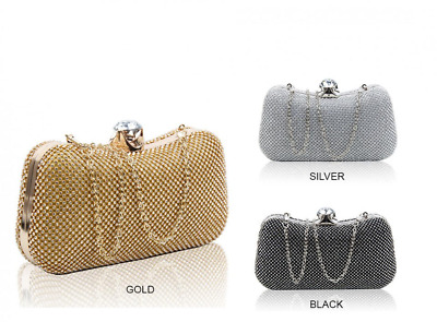New Womens Ladies Diamante crystal beats Clutch Bags Prom Wedding night out