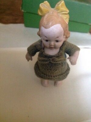 Tiny Antique All Bisque Beautiful Miniature Doll Dolls House Doll