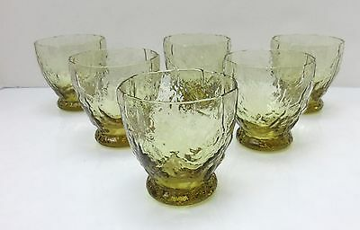6 Vintage Morgantown CRINKLE Yellow TOPAZ Oyster Fruit Cocktail Glass JUICE